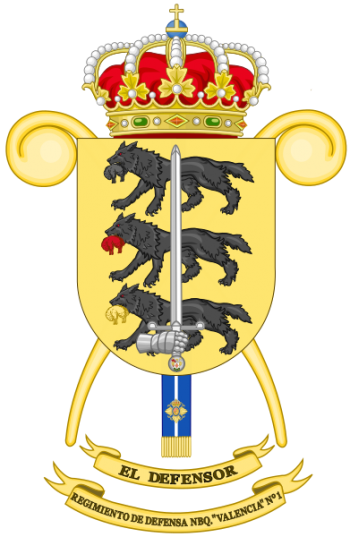 Coat of arms (crest) of the NBC Defense Regiment Valencia No 1, Spanish Army