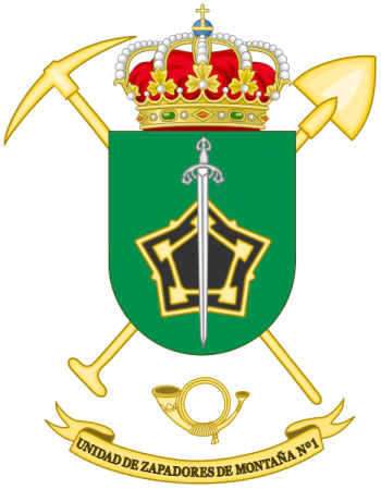 Coat of arms (crest) of the Mountain Sapper Unit No 1, Spanish Army