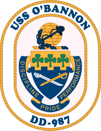 Coat of arms (crest) of the Destroyer USS O'Bannon (DD-987)