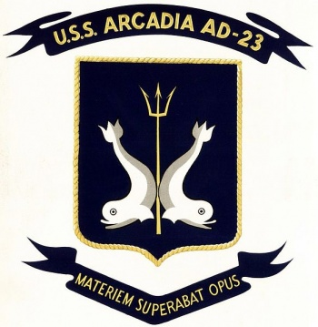 Coat of arms (crest) of the Destroyer Tender USS Arcadia (AD-23)